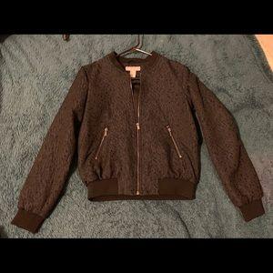 H&M Midnight blue shimmer zip front bomber jacket